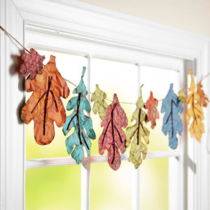 Faux Fall Leaf Window Dressing