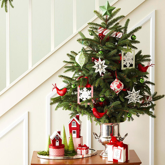 tabletop tree next to stairs
