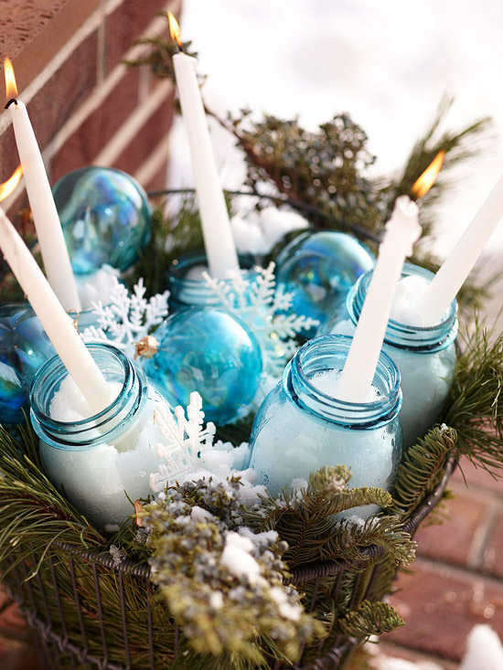 Glass jars and ornaments decoration