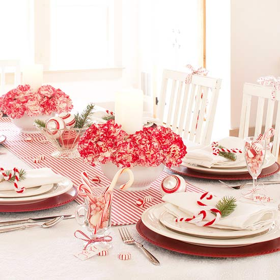 Candy Canes and Carnations Holiday Centerpiece