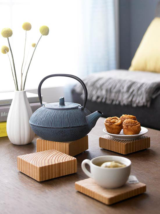 Wooden coasters and teapot
