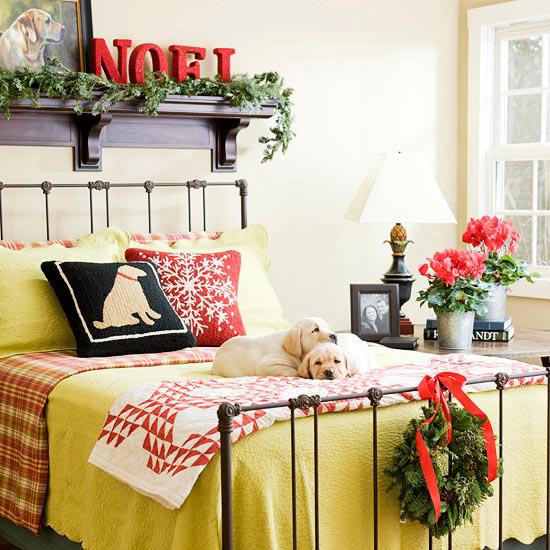 Guest room with holiday cheer