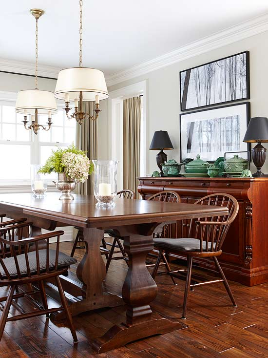 Dining room with two light fixtures