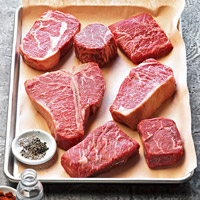 Assorted steak cuts ready to season