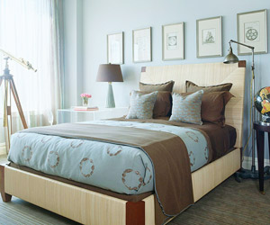 Blue, brown bed