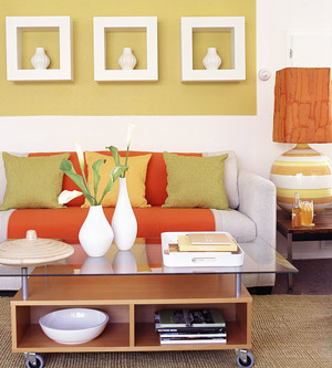 Green, yellow, orange on sofa