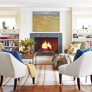 White chairs toward fireplace
