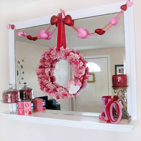 Valentine?s Mantel with Red and Pink Heart Wreath