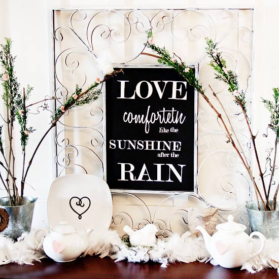 Valentine?s Mantel with Shakespeare Quote