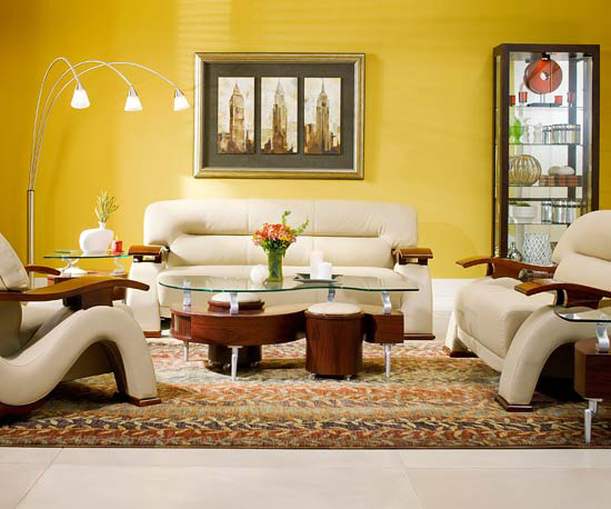 Favorite color yellow walls living room bright