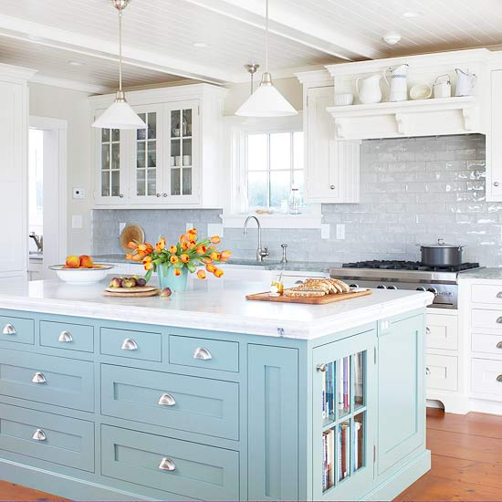 light blue kitchen island