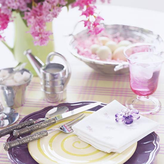 Purple-and-Pink Easter Table Setting