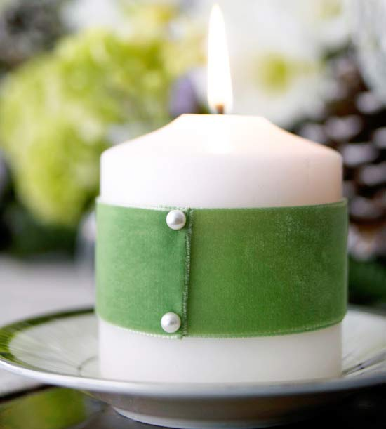 Green Ribbon-Wrapped Candle