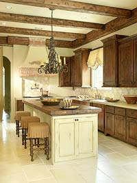 Kitchen w/ wood ceiling beams