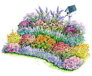 No-Fuss Bird and Butterfly Garden Plan Illustration