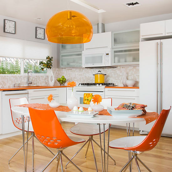 Modern kitchen with orange accents