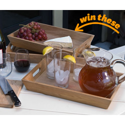 Teak Serving Trays - Set of 3