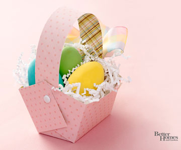 Paper Easter Basket with Colored Eggs