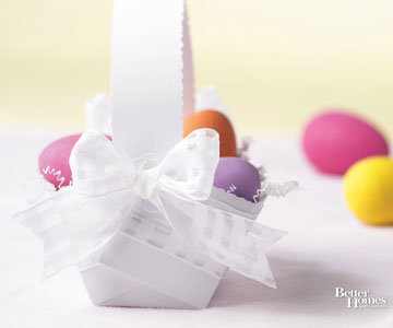 Colored Eggs in White Basket