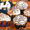 Jack-O-Muffins with Cobweb Icing