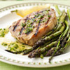 Grilled pork & asparagus with lemon dressing