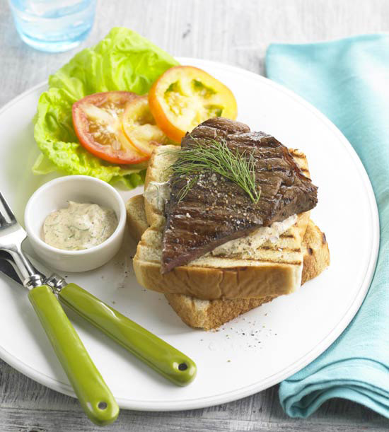 Grilled Texas Steak Sandwiches with Dilled Horseradish Sauce