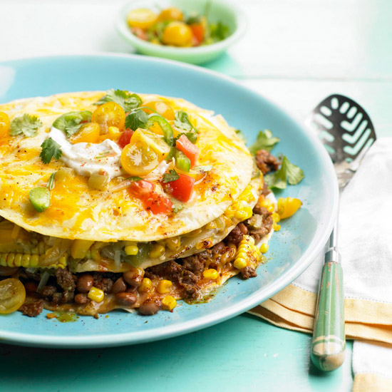 Stacked Sweet Corn, Bean & Beef Casserole