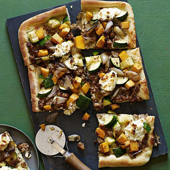 Roasted Vegetable, Crumbled Sausage and Fresh Ricotta Pizza | Family ...