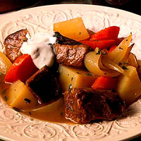 Irish Stew with Mint Sour Cream