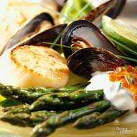 Scallops, Mussels, and Asparagus Salad
