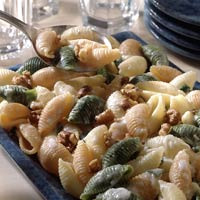 Pasta Shells with Mascarpone Cheese and Walnuts
