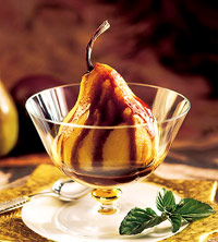 Chocolate-Sauced Pears