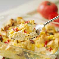 Corn and Tomato Bread Pudding