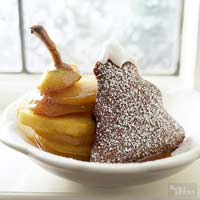 Gingerbread Tree Cookies with Glazed Pears