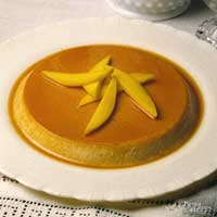 Caramel Flan with Mangoes