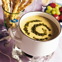 Pesto-Cheese Fondue