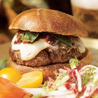 All-American Burger with Red Pepper Relish