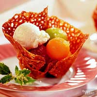 Image of Almond Cookie Baskets With Melon, Better Homes and Garden