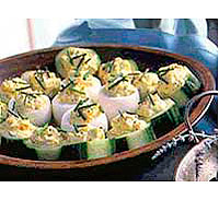 Deviled Eggs and Cucumber Cups