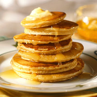 Peanutty Pancakes with Honey Butter