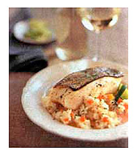 Striped Bass and Risotto in Spice Broth