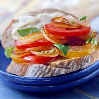 Sauteed Onion & Tomato Sandwiches