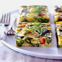 Image of Asparagus, Zucchini, And Yellow Pepper Frittata, Better Homes and Garden