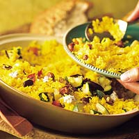 Saffron Pilaf with Grilled Vegetables