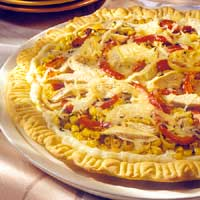 Sweet Pepper, Corn, and Turkey Pizza