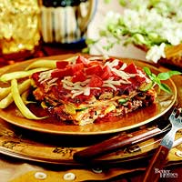 Vegetable Lasagna with Red Pepper Sauce
