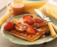 Peanut Waffles With Butterscotch Sauce