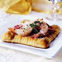 Shrimp and Tomato Pizzettas