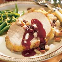 Image of Apple-stuffed Pork Loin With Raspberry Sauce, Better Homes and Garden