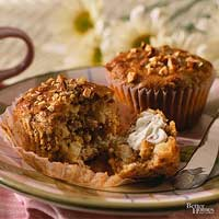 Ginger-Cream Topped Pear-Almond Muffins